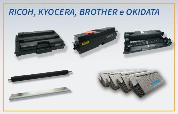Cartuchos de toner Okidata 44318604   44318603   44318601   44318602, Kyocera TK172, Brother DR3440, Ricoh SP377, Doctor Blade Ricoh SP5200 e Rolo Developer Ricoh SP5200